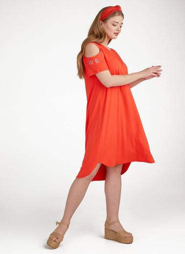 Sementa Büyük Beden Kadın Pencere Kol Elbise  Kırmızı